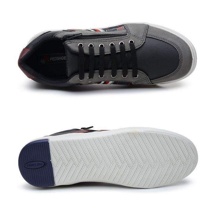Sapatenis Ped Shoes Preto/Grafite/Vermelho 61000-A - Calcados Online