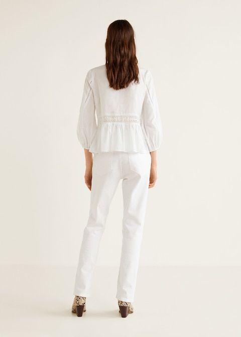 Блузка с кружевной кокеткой - Рубашки - Женская   Fashiony   Mango 77c1c643e04