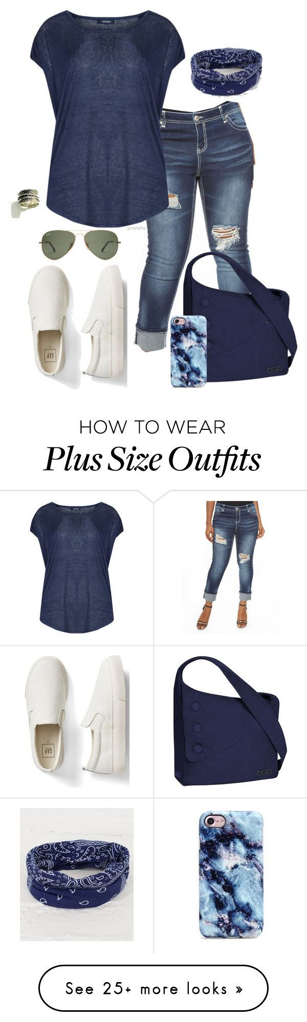 """Throw your hair up in a bun- plus size"" by gchamama on Polyvore featuring Almost Famous, Samya, Gap, OGIO and BKE"