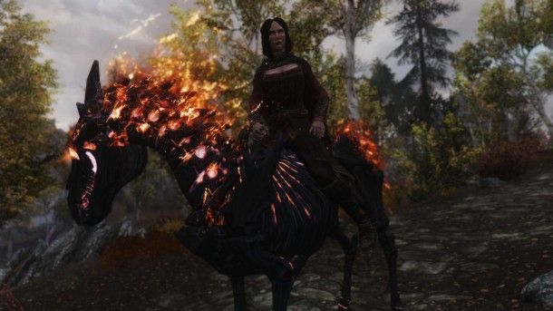The freaky demon horse the companion Serana gets from the Convenient Horses Skyrim PC modification.  From PC Gamer.
