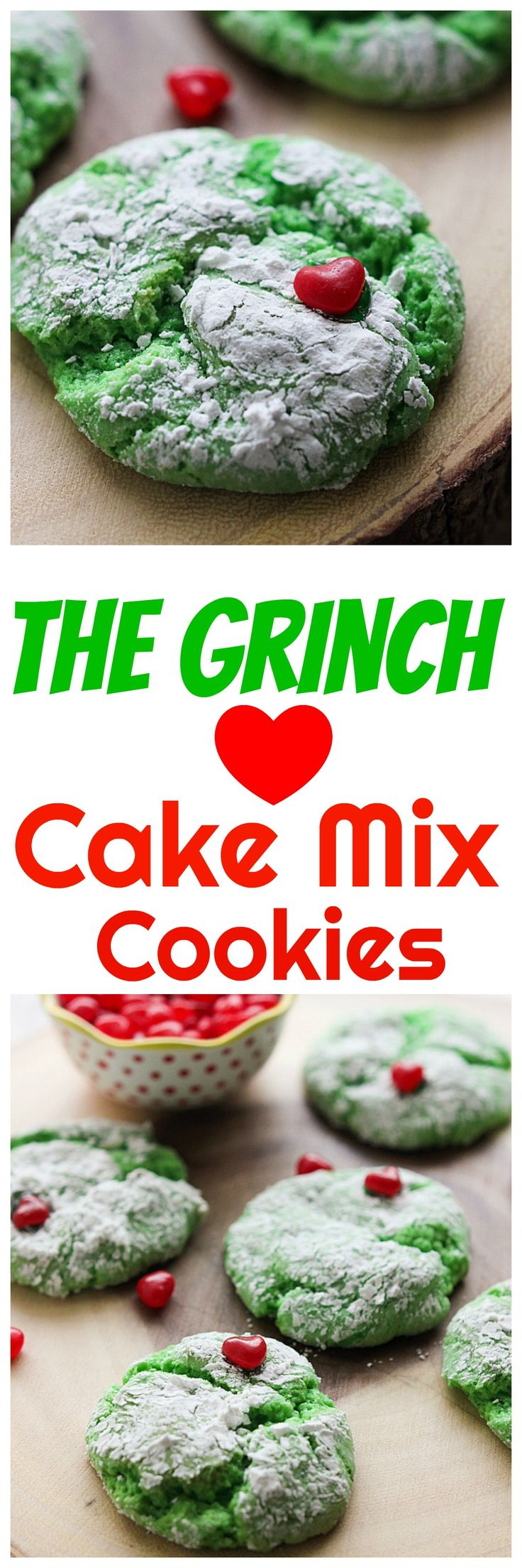 I made you guys The Grinch cake mix cookies! Cake mix cookies are a delicious treat but turn them green and add a heart for The Grinch and they're even better!