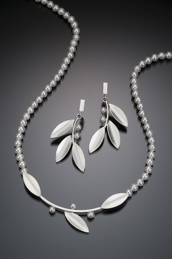 Silver Long Leaf with White Pearls - Beth Solomon Jewelry Studio