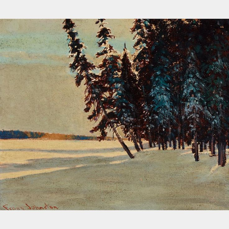 """""""Lengthening Shadows, Late Aftersonn, Onoman Lake near Tahota gold Fields,"""" Frank H. Johnston, oil on board, 10 x 12"""", private collection."""