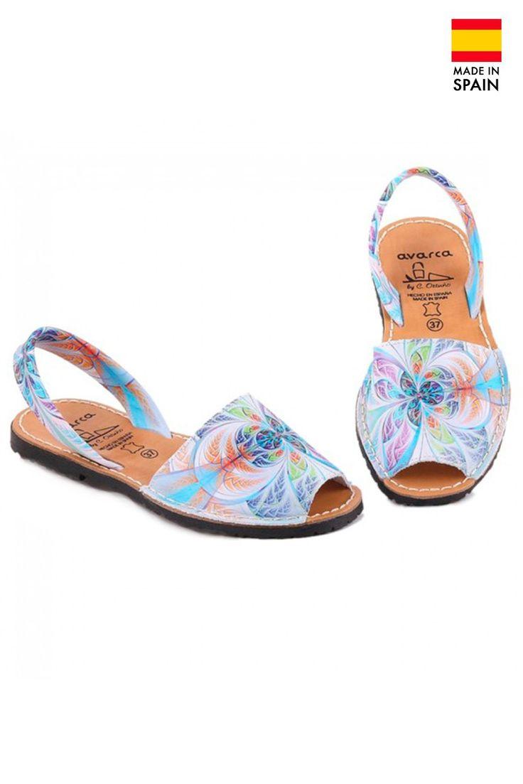 Sandale Avarca de dama din piele, Flower Print, multicolor