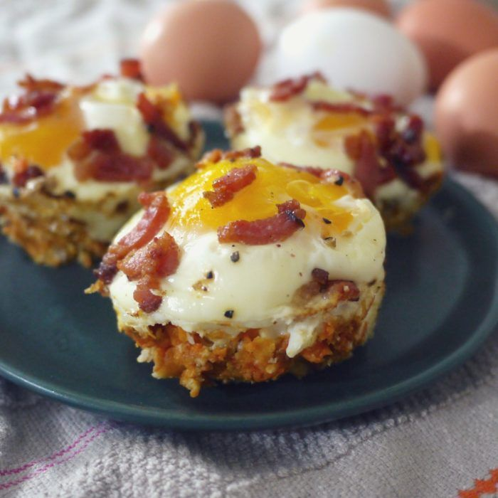 A delicious breakfast of eggs and bacon in sweet potato cups is perfect for a weekend or holiday brunch. It's a guaranteed crowd pleaser!