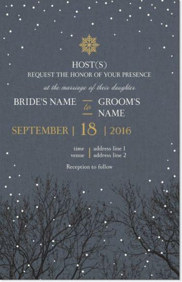 Grey Winter Vertical Flat Wedding Invitations, Nature Grey Vertical Flat Wedding  Invitations   Vistaprint
