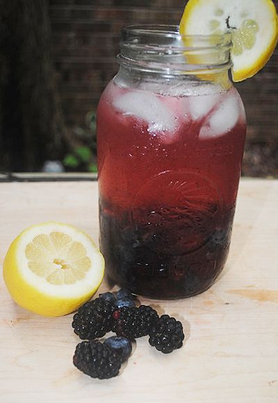 Black and Blue Cocktail; yum ~ crush blueberries & blackberries in a ...