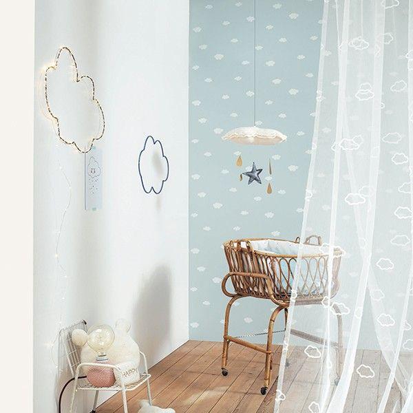 Papel pintado infantil nubes azul