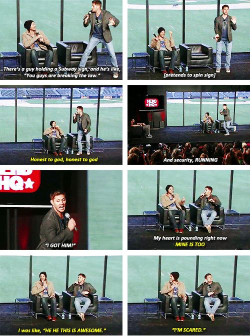 [SET OF GIFS] Jared & Jensen convention panel about their adventure to #NerdHQ2013