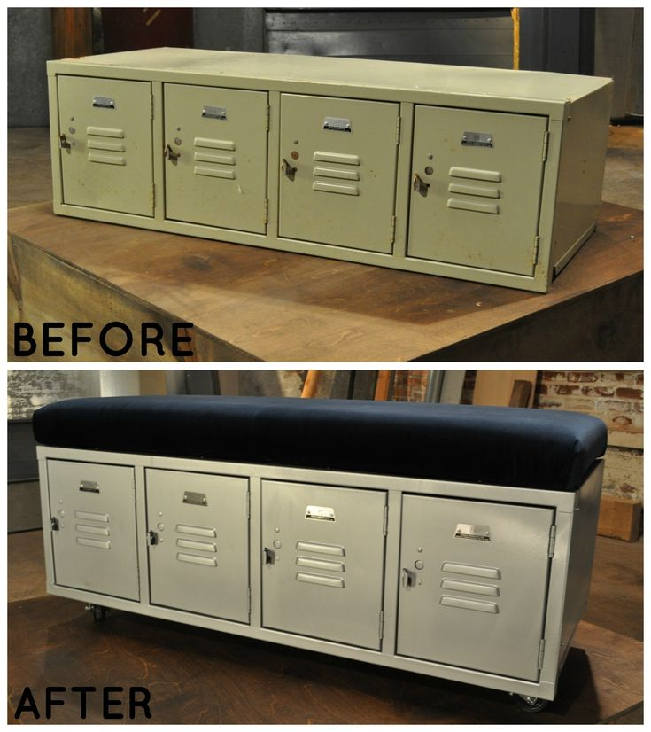 Old lockers repurposed as a bench. See more Flea Market Flip transformations >> http://www.greatamericancountry.com/photo/locker-room-and-bench-in-one?soc=pinterest