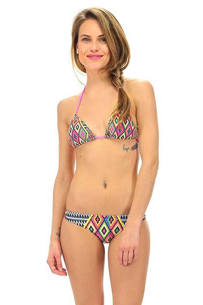 4giveness - Costumi da bagno - Abbigliamento - Costume da bagno a triangolo con brasiliana con stampa a fantasia.La nostra modella indossa la taglia /EU S. - AZTEC - € 45.00