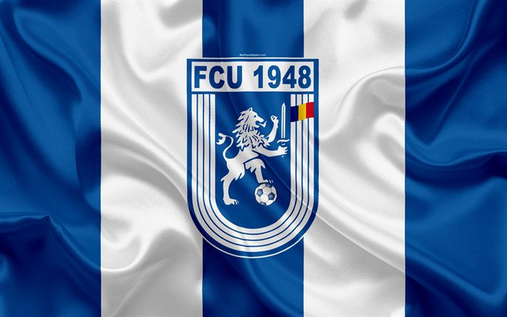 Download wallpapers CS Universitatea Craiova FC, 4k, Romanian football club, Universitatea logo, silk flag, Romanian Liga 1, Craiova, Romania, football