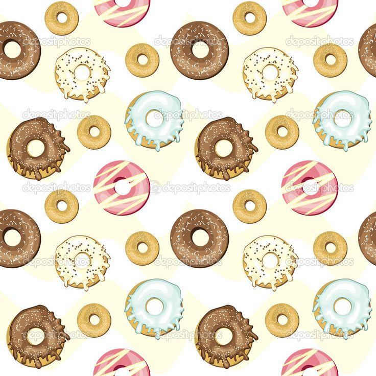 пончики | Пончики бесшовный фон — Векторное ...