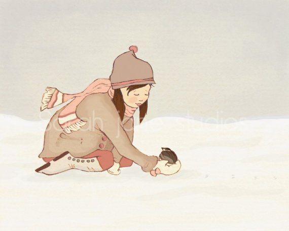 Enfants murale Art Print - petit visiteur - 8 x 10 - Kids décor de vacances de l'hiver de pépinière