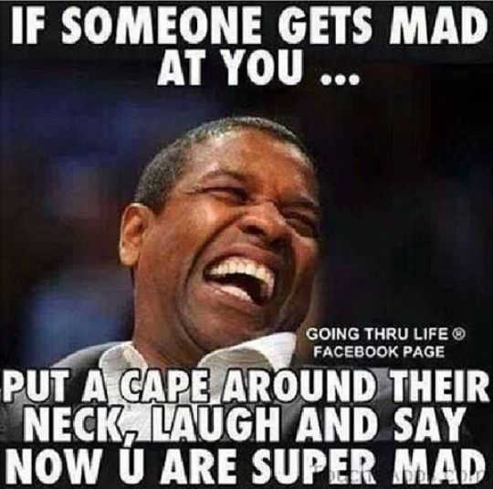 Denzel Washington, put a cape on, why you mad, super mad, Meme