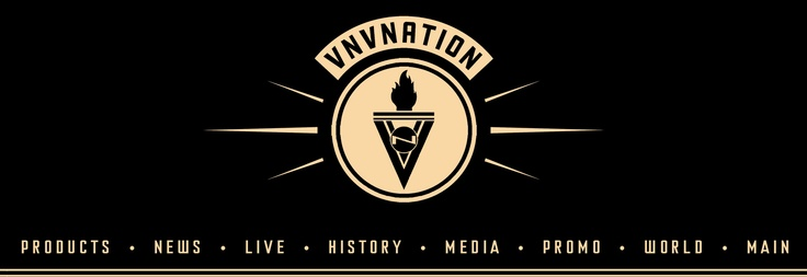 VNV Nation header and logo. Vintage and strong. Like that the logo has two Vs and an N that make up the torch, but it's not overpowering. VNVNation.com