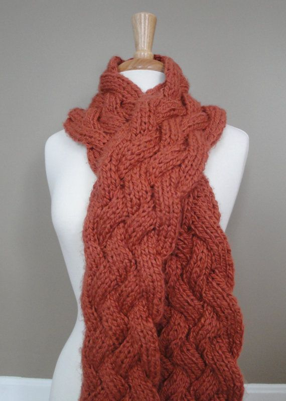 Braided Cable Knit Scarf  Choose Your Color by KnotYourAvgKnits, $32.00