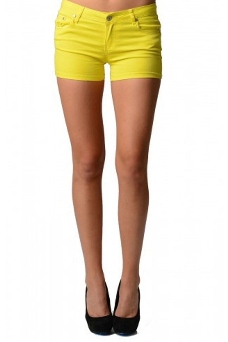 Women's Neon Yellow Shorts show off this summer in these Women's Neon Yellow Shorts. Perfect for any summer day. featuring zipper front and pockets on front and back Yellow shorts
