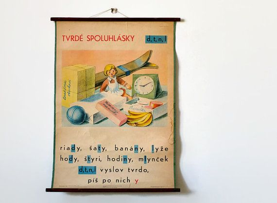 Large classroom chart / vintage school poster / by 1001Artforms