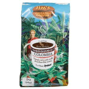 Jim's Organic Coffee Colombian Ground Coffee, 12-Ounce Bags (Pack of 2) by Jim's Organic - Exotic Coffee Bean