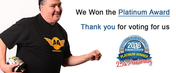 We are still celebrating that we won the Hamilton Spectators Readers Choice Platinum Award for The Best Auto Parts Store in Hamilton. A special thank you to all of our customers who voted for us. A&A Discount Auto Parts works hard to give the best prices on OEM and Aftermarket Parts. https://aadiscountauto.ca/ #HamiltonSpec #ReadersChoice #PlatinumAward #BestAutoPartsStore #Hamilton #AADiscountAuto #OEM #AftermarketParts #PlatinumAward2016