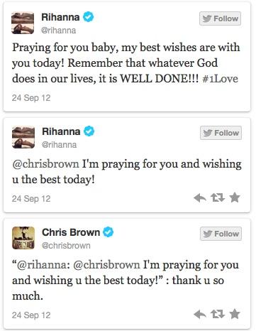 Rihanna Tweets Prayers to Chris Brown Before Court Hearing