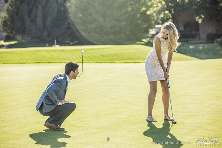 Summer engagement session with couple playing golf #Engagement #pictures #engagement #photos #engagementsession #wedding #photography #wedding #pictures #wedding #photos #Michiganwedding #Chicagowedding #MikeStaffProductions #weddingdj #wedding #photographer #wedding #videographer #wedding #planning