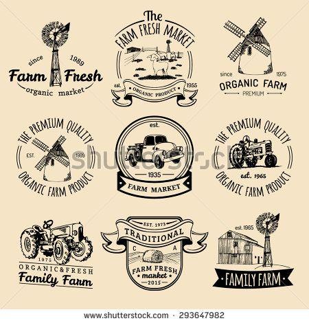 Vector retro set of farm fresh logotypes. Vintage farm logo collection. Organic farm logo set. Farm signs.