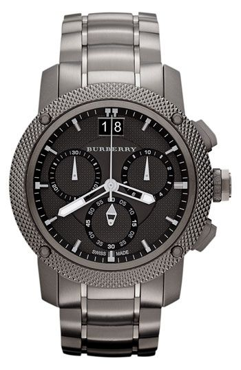 Chunky industrial design defines a bold chronograph watch with a diamond-textured bezel and brushed steel bracelet. Color(s): gunmetal. Brand: Burberry. Style Name: Burberry Chronograph Bracelet Watch. Style Number: 584989.