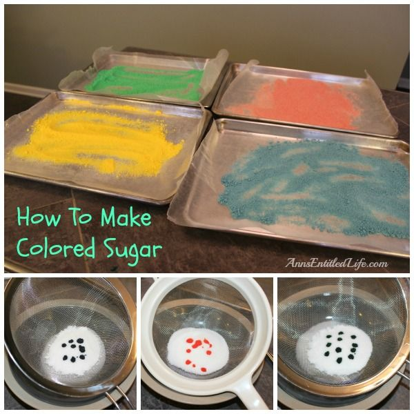 How To Make Colored Sugar; step by step instructions on how to make your own colored sugar to decorate cupcakes, cakes and cookies.  http://www.annsentitledlife.com/recipes/how-to-make-colored-sugar/