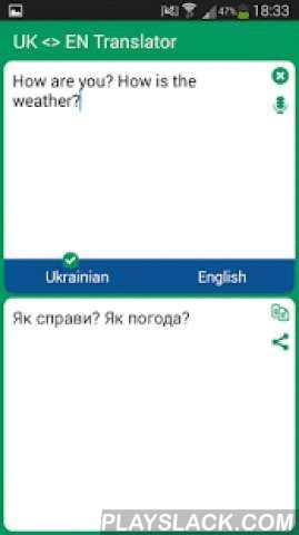 Ukrainian - English Translator  Android App - playslack.com ,  With this translator you can easily translate words and text from Ukrainian to English and from English to Ukrainian. You are able to translate words and even sentences, in just a split second.This translator contains the following features:- Translate words and sentences- Translate from clipboard- Simple and user-friendly interface- Instant search- Instant start- It helps to learn the language- Can be used as an dictionary- It…