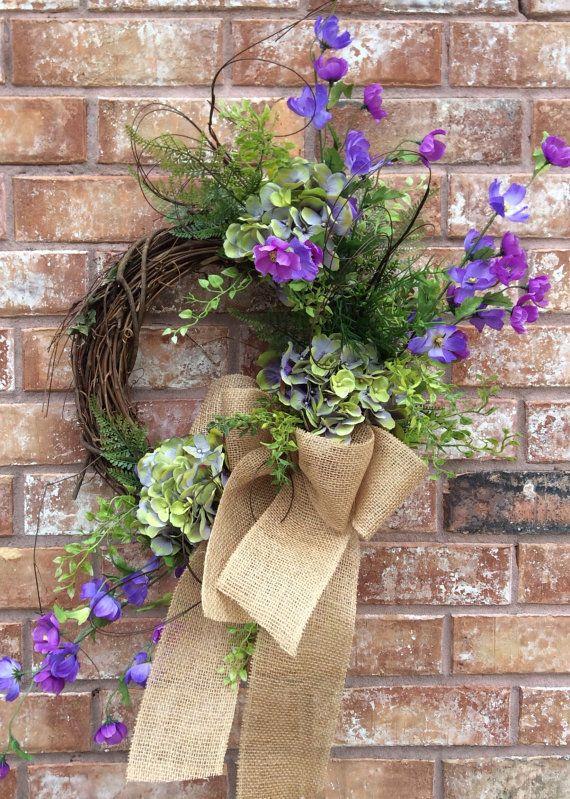 Double door wreath, Hydrangea Wreath, Mothers Day Wreath,Easter  Wreath, Spring Wreath, Front Door Wreath, Whimsical Wreath, Everyday Wreath on Etsy, $49.99