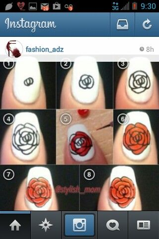 Sharpie nails, fine point, rose nails, diy nails, nail art, easy nail ideas, flower nails, nail flowers, simple enough nails, nail designs, manicure, pedicure, white nails, spring nails 2014