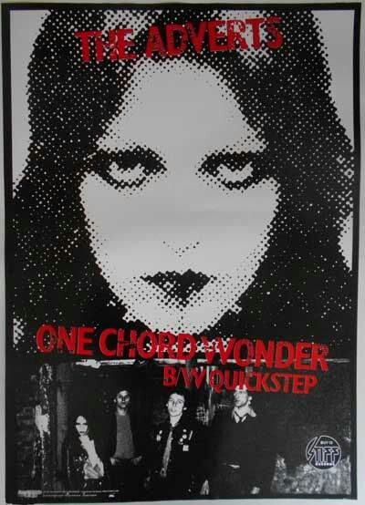 """THE ADVERTS - STIFF 1977 Promo Poster for """"One Chord Wonders"""" b/w """"Quickstep"""" Produced by LARRY WALLIS from PINK FAIRIES & MOTORHEAD.  Poster & Cover by BARNEY BUBBLES!"""