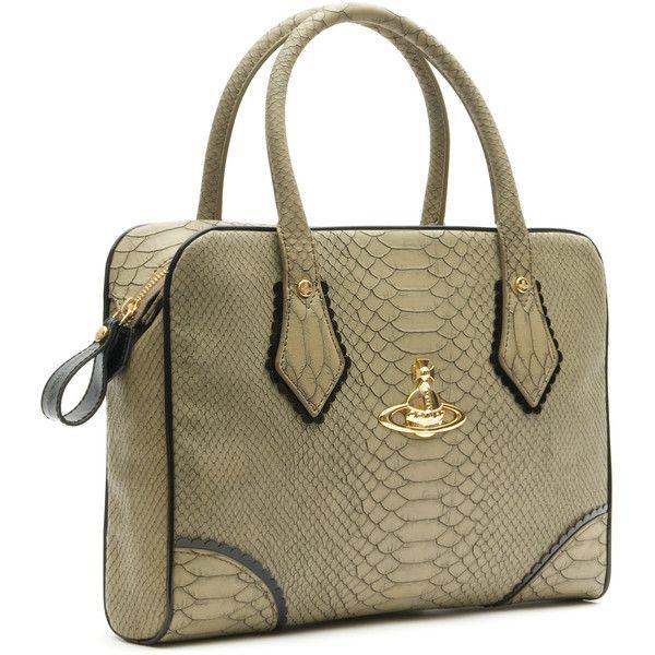 Frilly Snake Bag Mushroom 5525 | Vivienne Westwood ❤ liked on Polyvore featuring bags, handbags, purses, сумки, brown handbags, vivienne westwood, snake bag, man bag and vivienne westwood purse