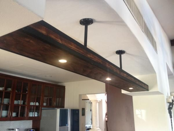 A Beam Chandelier With Recessed Lights Underneath And On Top Beam In Photo Is 4 X 12 X 96 With 5 Recessed Light Ceiling Beams Recessed Lighting Low Ceiling