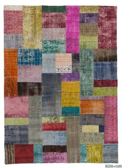 Over-dyed Turkish Patchwork Rug: