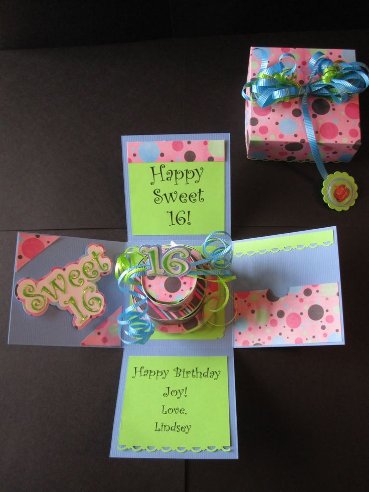 Sweet 16 birthday explosion box - curling ribbon - bjl ...