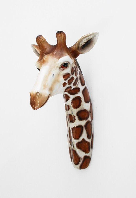 Faux Taxidermy Animal Head Giraffe White Faux By