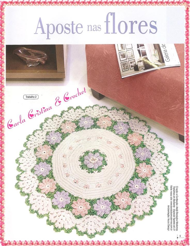 Carla Cristina & Crochet: Tapete Redondo com Flores