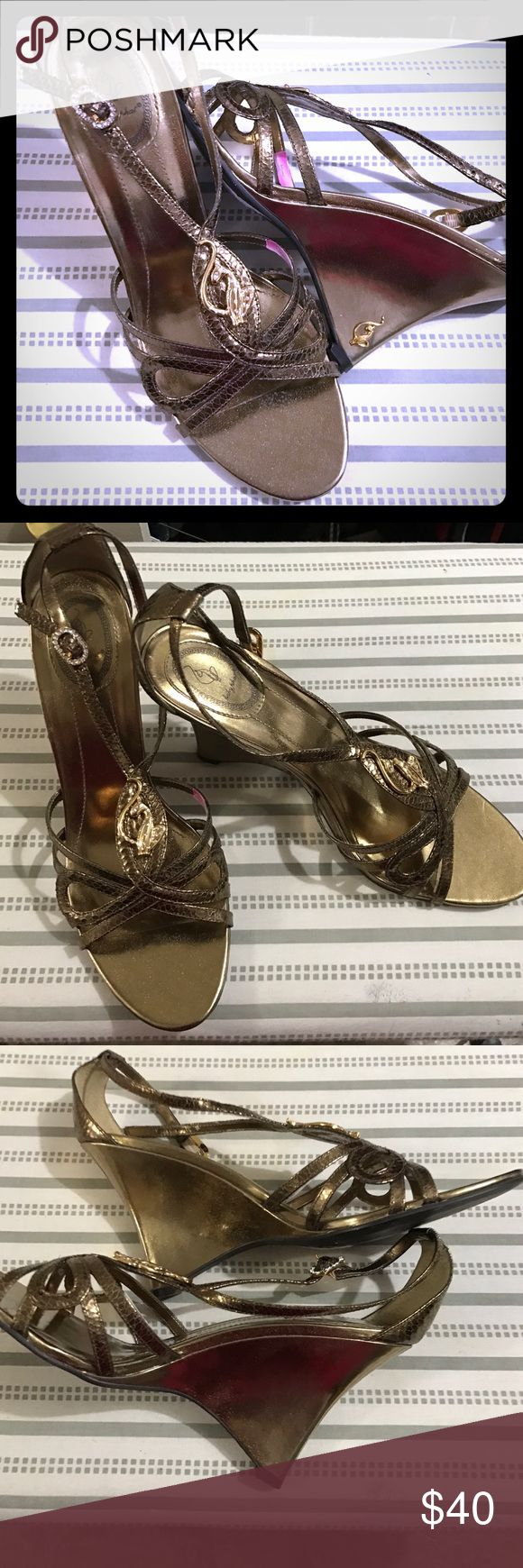 Wedges Baby phat bronze wedges with so much detail that you'll definitely be pleased. Never worn! Baby Phat Shoes Wedges