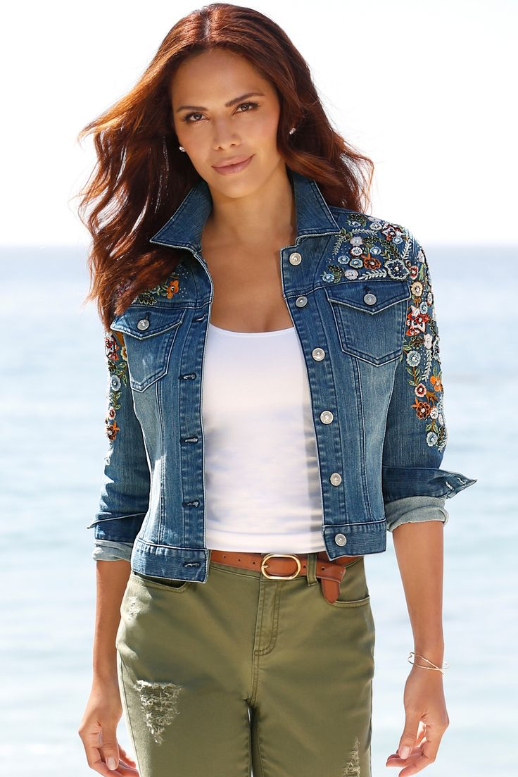 Classic Jackets with a Twist | Women's Embellished Denim Jacket by Boston Proper.