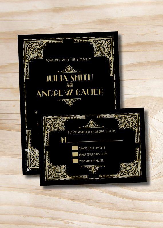 ART DECO GATSBY Wedding Invitation/Response by PaperHeartCompany