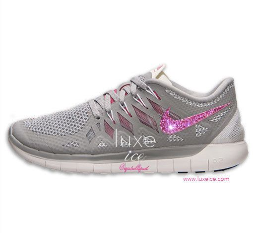 official photos cd290 867f8 NIKE Free 5.0 2014 running shoes w Swarovski Crystals - Wolf Grey Vivid  Pink White   Sport Shoes   Pinterest   Running Shoes, Nike Free and Running