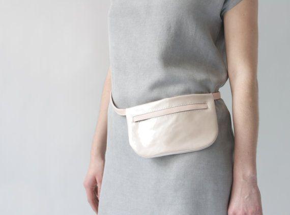 Genuine Leather Belt Bag in Rose Patent / Rose, Size 2, Fanny Pack, Small Soft Pink Hip Bag, i phone bag