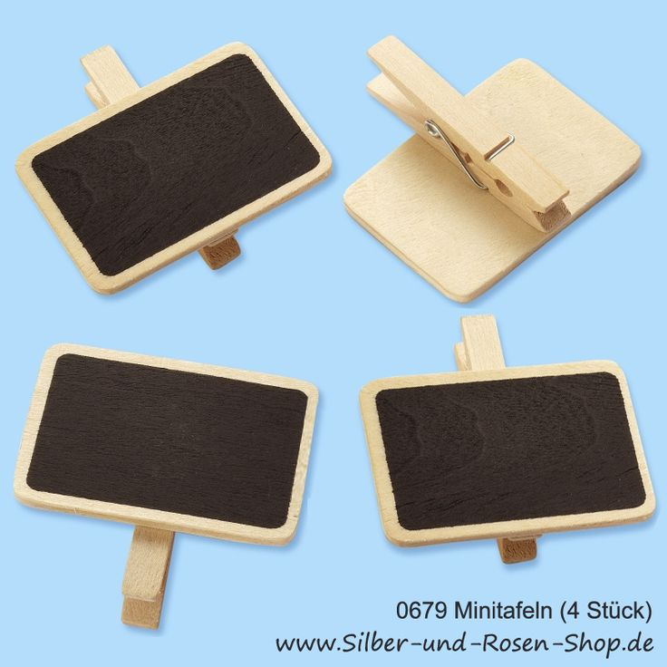 Mini Schultafeln mit Klammer (4er Set)