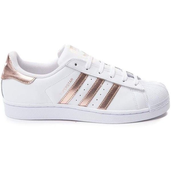 Womens adidas Superstar Athletic Shoe found on Polyvore featuring shoes, athletic shoes, sneakers, adidas athletic shoes, laced up shoes, sports footwear, leather upper shoes and traction shoes