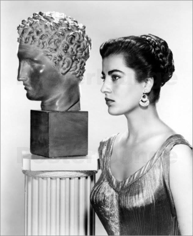 Greek actress Irene Pappas next to a greek statue, Eternal greek beauty