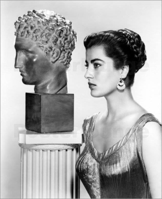 Greek actress Irene Pappas next to a greek statue. Favourite in Zorba The Greek. The Messenger. Guns Of Navaronne. Eternal greek beauty...