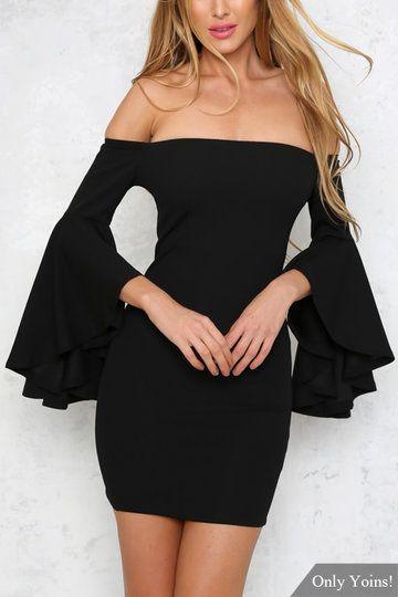 Black Full Length Flared Sleeves Off Shoulder Dress